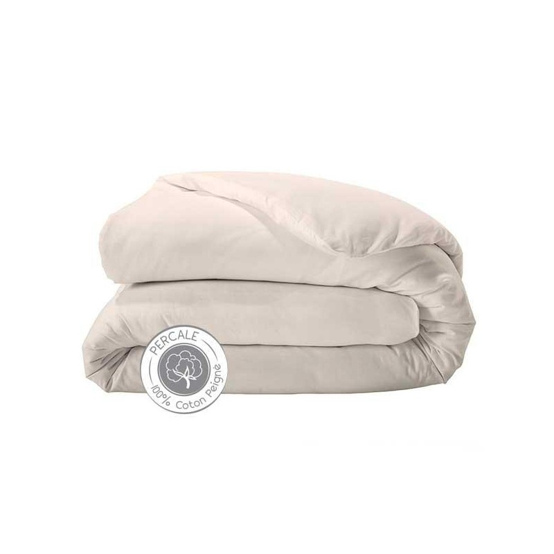 Housse de couette percale de coton beige marque tradilinge le fil de charline - Housse de couette de marque ...