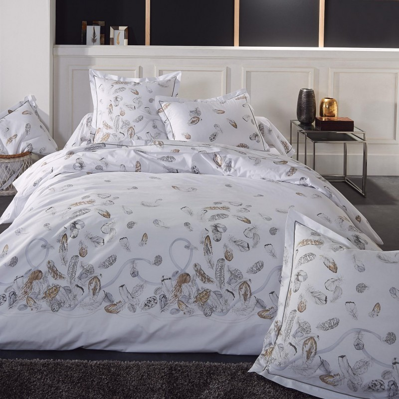 Housse de couette percale Tradilinge PLUMES