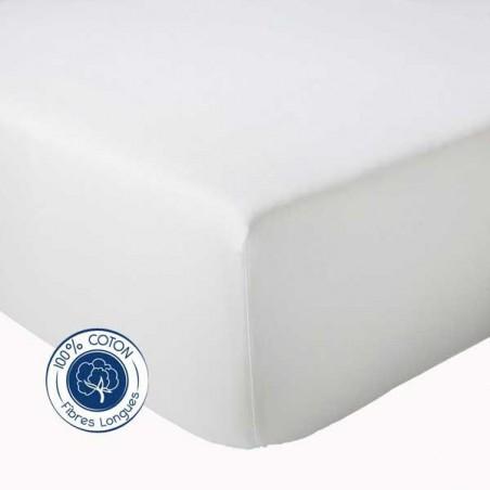 Drap Housse 100% coton Blanc