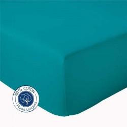 Drap Housse 100% coton Bleu Paon
