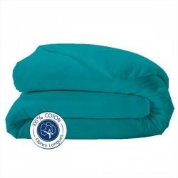 Housse de couette 100% coton Bleu Paon