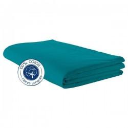 Drap plat 100% coton Bleu Paon