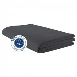 Drap plat 100% coton Carbone