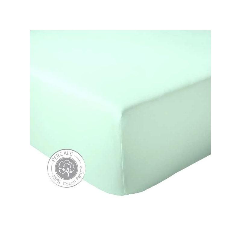 drap housse percale celadon