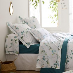 Drap housse percale Tradilinge ESCALE EMERAUDE - Coloris EMERAUDE