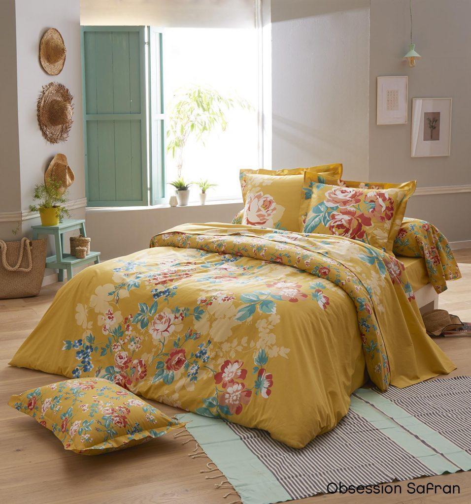parure de lit fleurie obsession safran
